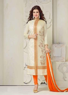 orange embroidered cottan salwar with dupatta