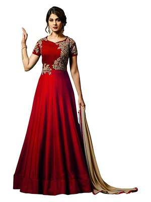 4a337065cc Red embroidered magic silk party wear gown - Vastrang - 2731223