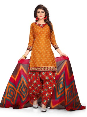 Orange geometric print cotton salwar with dupatta