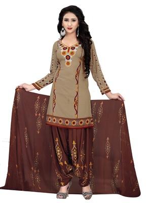 Beige geometric print cotton salwar with dupatta