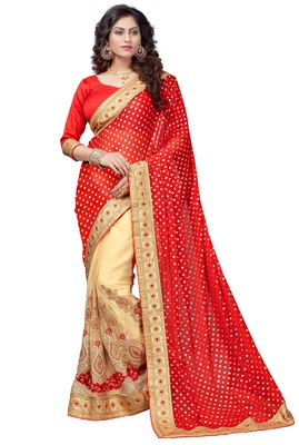 Red embroidered lycra saree with blouse