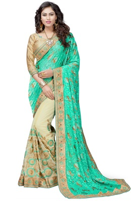Turquoise embroidered brasso saree with blouse