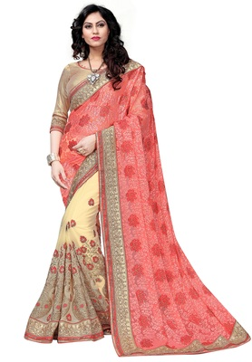 Red embroidered brasso saree with blouse
