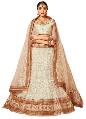 1777874b49 White net embroidered lehenga choli - AASVAA FASHION - 917403