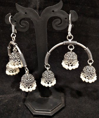 Designer Indian Bollywood Oxidized Jhumka Jhumki 2pc Set
