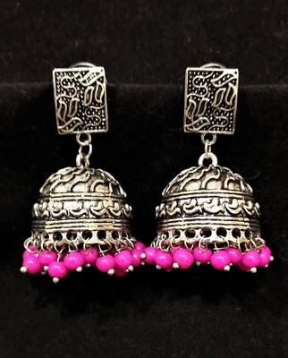 Desigenr Oxidized Party Pink Pearl Jhumki Earrings Set