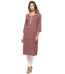 Maroon printed cotton kurti
