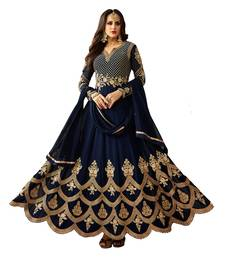 Midnight blue embroidered faux georgette Anarkali suit