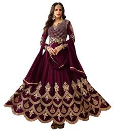 Wine embroidered faux georgette Anarkali Suit