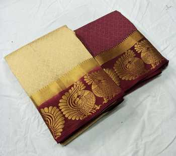Beige woven jacquard saree with blouse