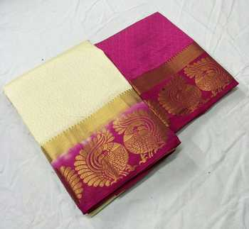 Cream woven jacquard saree with blouse