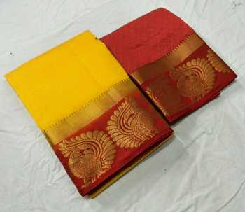 Yellow woven jacquard saree with blouse