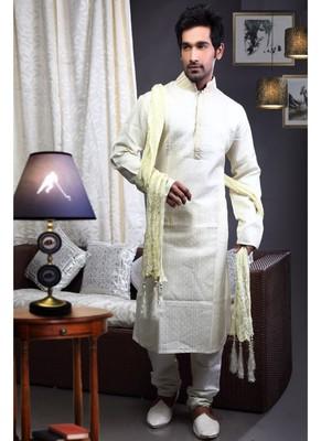 Cream Embroidered Art Dupion Silk Mens Kurta Pajama
