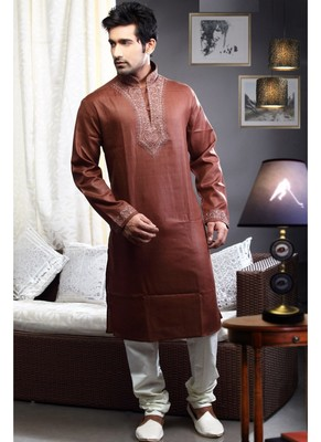 Rust Embroidered Art Dupion Silk Mens Kurta Pajama