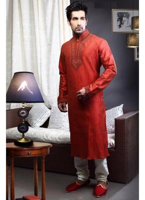 Reddish Maroon Embroidered Art Dupion Silk Mens Kurta Pajama