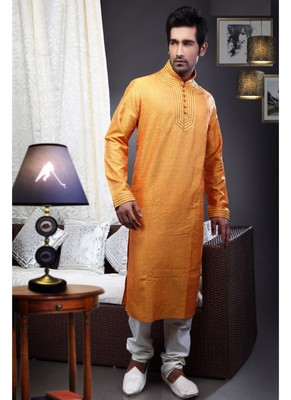 Mustard  Embroidered Art Dupion Silk Mens Kurta Pajama