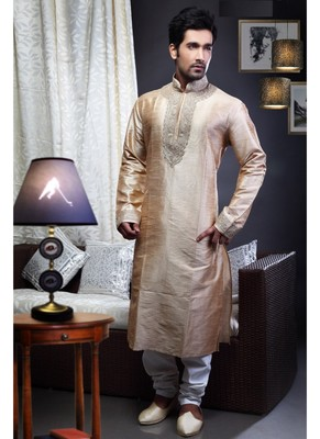 Brown Embroidered Art Dupion Silk Mens Kurta Pajama