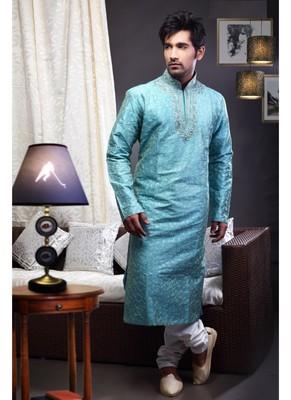 Aqua Blue Embroidered Art Dupion Silk Mens Kurta Pajama