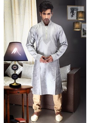 Light Grey Embroidered Art Dupion Silk Mens Kurta Pajama