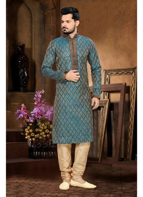 Rama Embroidered Jacquard Mens Kurta Pajama