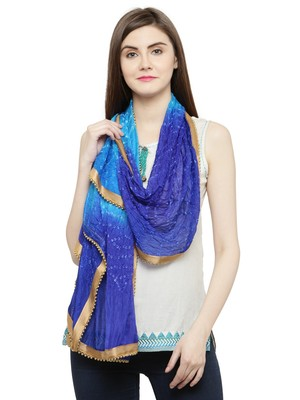 Blue Silk Printed Stole And Dupattas