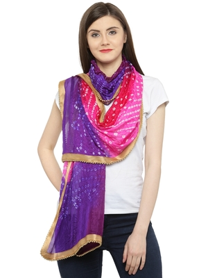 Blue  And  Pink Silk Printed Stole And Dupattas