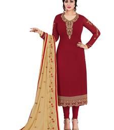 Buy Maroon embroidered faux georgette salwar suit ayesha-takia-salwar-kameez online