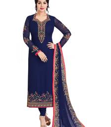 Blue embroidered faux georgette salwar suit
