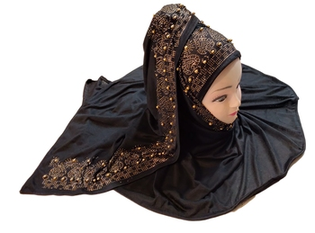 Black Color Beads And Stone Work Hosiery Cotton Women's Headscarf