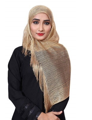 Golden Color Soft Plain Lace Work Hijab Dupatta Scarf For Women