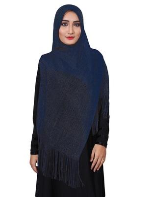 Blue Color Soft Plain Lace Work Hijab Dupatta Scarf For Women