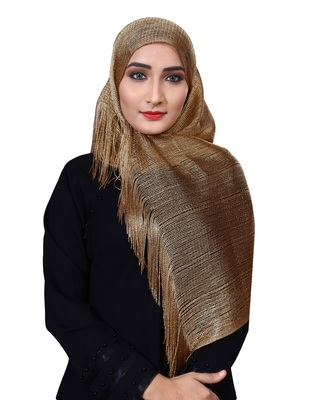 Flame Color Soft Plain Lace Work Hijab Dupatta Scarf For Women