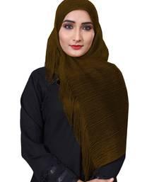 Copper Color Soft Plain Lace Work Hijab Dupatta Scarf For Women