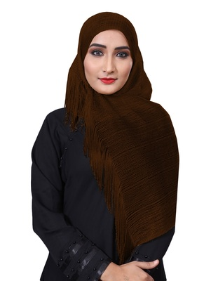 Coffee Color Soft Plain Lace Work Hijab Dupatta Scarf For Women