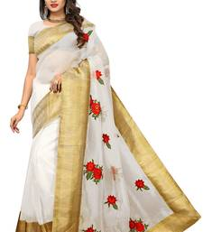 White printed tissue saree with blouse