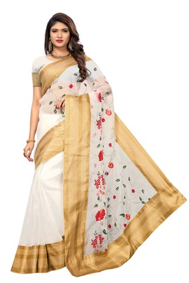 White printed tissue saree with blouse