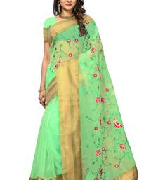 Green printed tissue saree with blouse