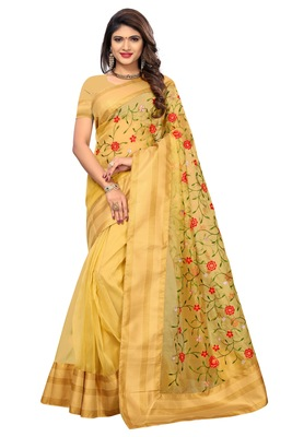 Golden printed tissue saree with blouse