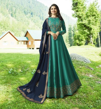 Green embroidered silk Anarkali Suit