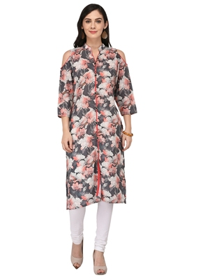 Multicolor Cotton Silk Designer Long Party Wear Kurti