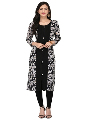 Black Cotton Silk Designer Long Party Wear Kurti
