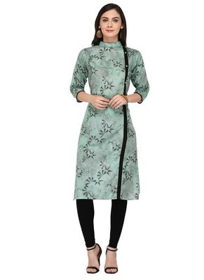 Sky Blue Cotton Silk Designer Long Party Wear Kurti