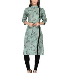 Sky Blue Cotton Silk Designer Long Party Wear Kurti