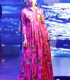 Pink Rayon Designer Long Party Wear Kurti