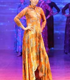 Orange Rayon Designer Long Party Wear Kurti