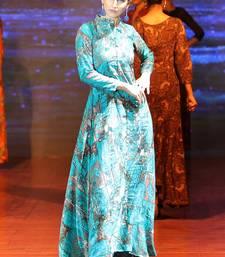 Turquoise Rayon Designer Long Party Wear Kurti