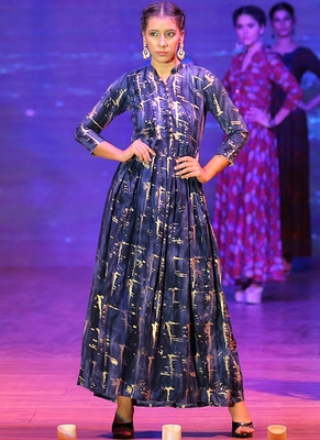 Navy Blue Rayon Designer Long Party Wear Kurti