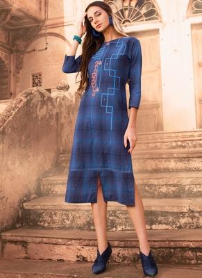 Blue Cotton Designer Long Party Wear Kurti
