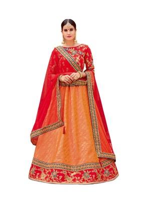 Orange Color Embroidered Designer Lehenga Choli