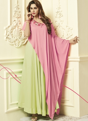 Lime Rayon Designer Long Party Wear Kurti